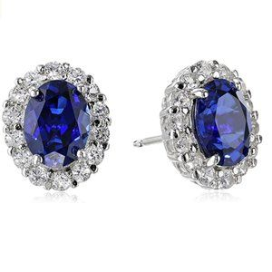 Rhodium Plated Sterling Silver Gemstone and Created White Sapphire Oval Earrings